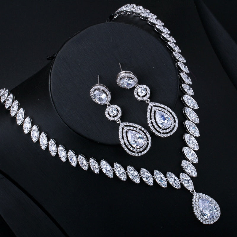 CWWZircons Brand Clear Cubic Zircon Long Big Dangle Wedding Earrings Necklace Sets Costume Jewelry Accessories For Brides T162