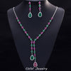Beautiful Green And Red CZ Stone Jewelry 4 Leaf Long Drop Party Necklace Earrings Sets