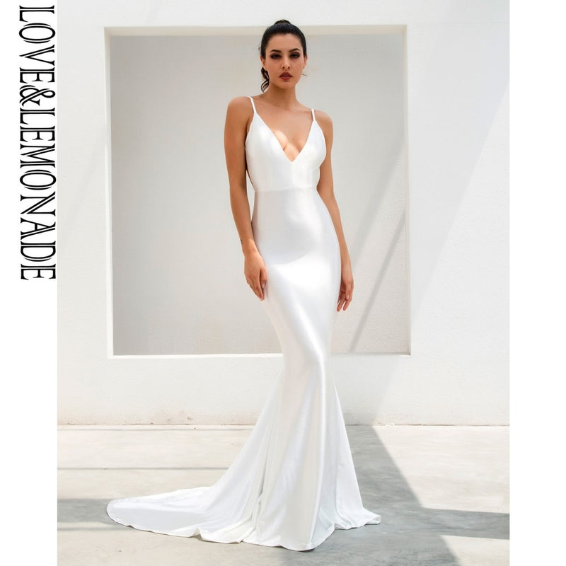 Love&Lemonade  White Deep V-Neck Open Back Slim Flash Material Long Dress  LM1096