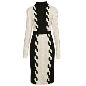 beige and black women knitted dress runway clothing high fashion winter dress midi