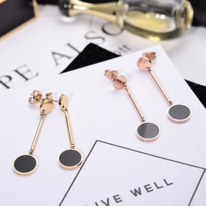 YUN RUO Medical Stainless Steel Jewelry Rose Gold Color Black Round Tassels Earrings for Woman High Polish Boucle d'oreille