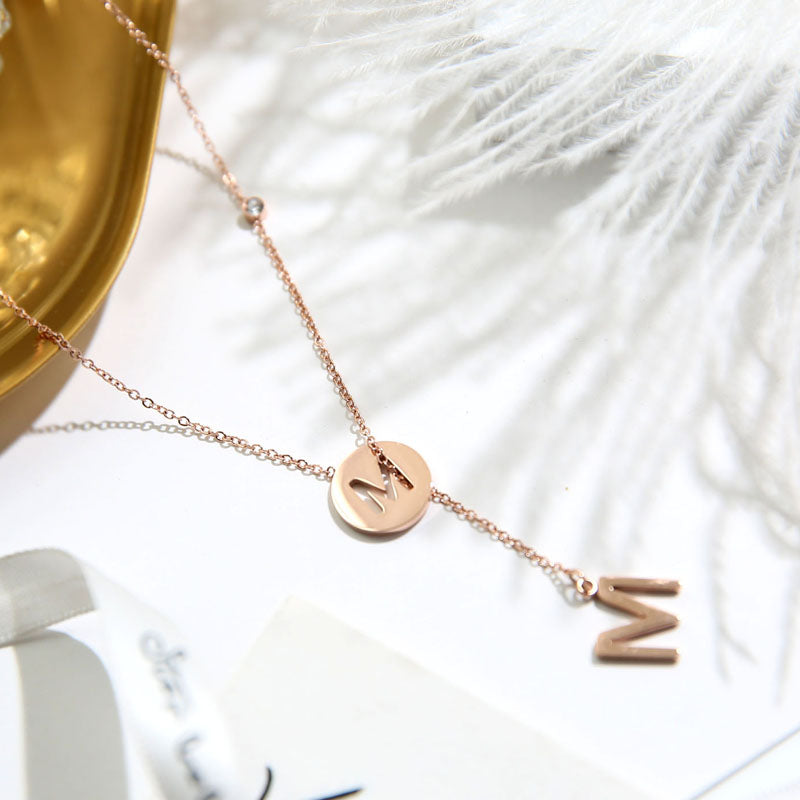 YUN RUO 2018 New Arrival Rose Gold Color Fashion Adjusted Letters Pendant Necklace Titanium Steel Woman Jewelry Gift Not Fade