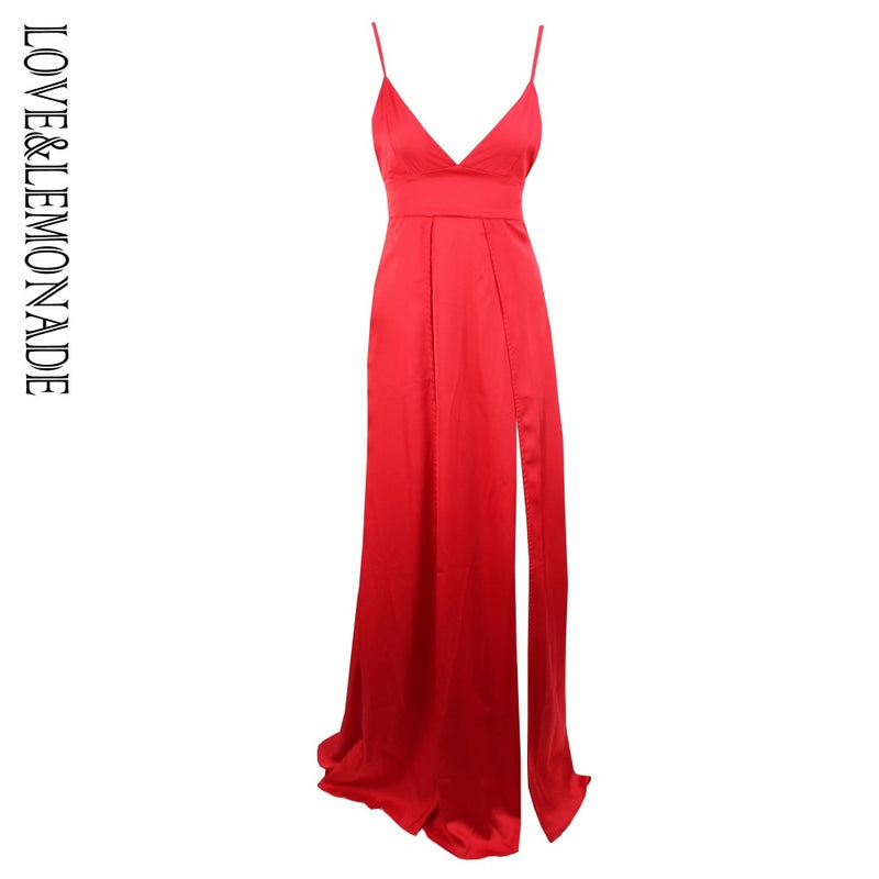 Love&Lemonade   Red Color V-Necked Irregular Long Dress  LM0289