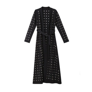 Metal Ring Midi Dress Women Long Sleeve Lace up A-Line Sexy Cardigan Dresses Female Casual