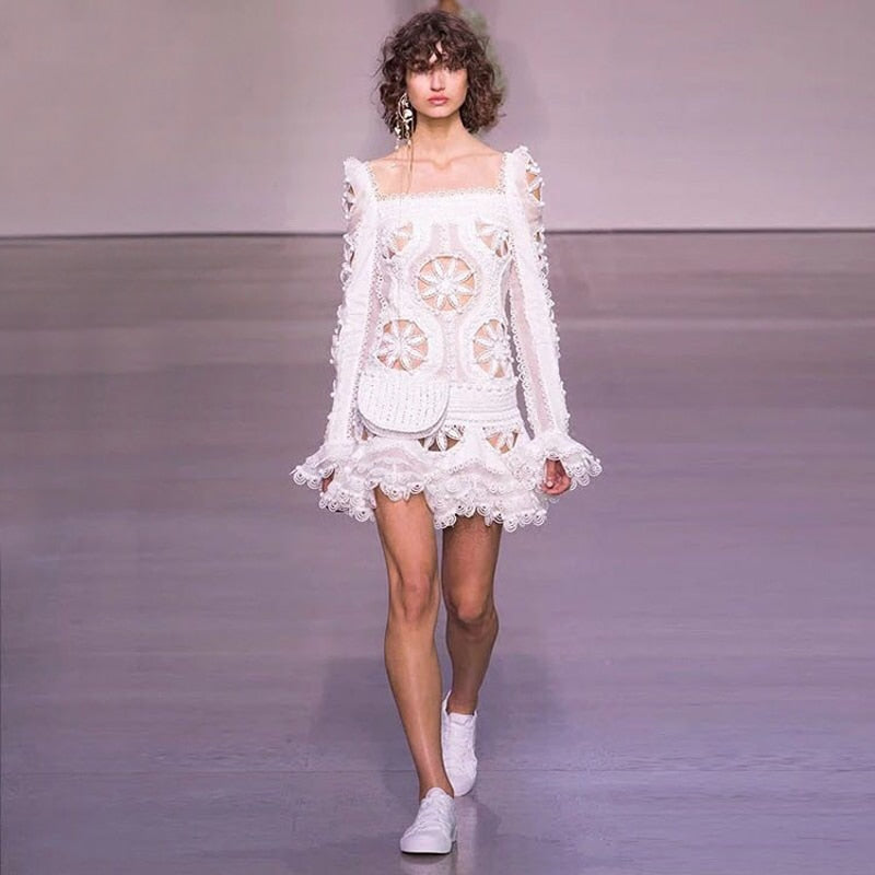 high fashion runway crochet white sexy birthday dresses square collar long sleeve fit and flare dress mini dress sexy club wear