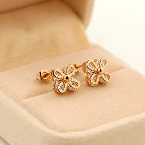 Gold Silver Color Luxury Crystal Flower Stud Earring