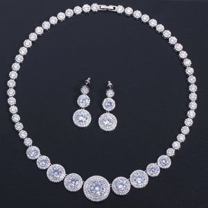 African Cubic Zirconia Luxury Dubai Arab Gold Color Filled Wedding Necklace Earrings Jewelry Sets