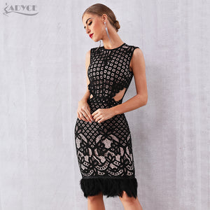 Adyce 2019 New Summer Bandage Dress Women Elegant Black  Sleeveless Sexy Feather Bodycon Club Lace Dress Celebrity Party Dresses