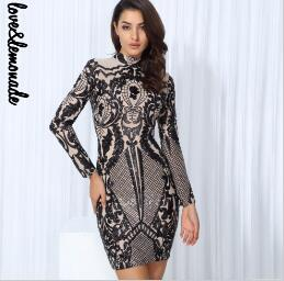 Black Geometric Graphic Sequins Nude  Lining Long Sleeves Dress Black/Silver