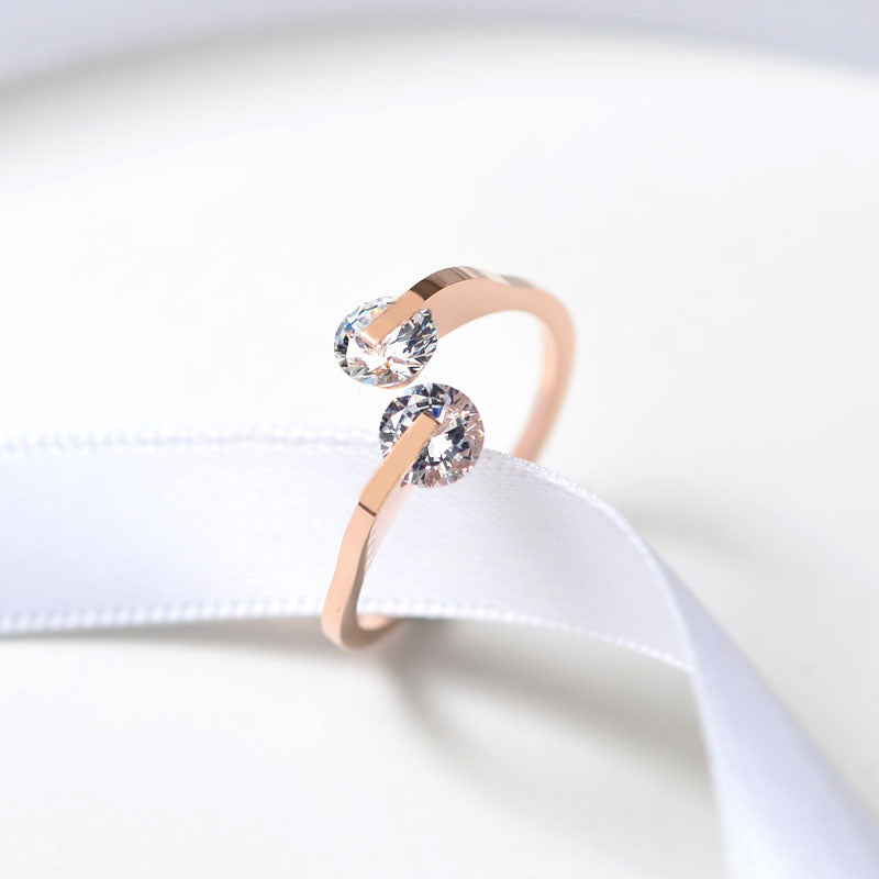 YUN RUO Rose Gold Colors Double Zirconia Crystals Rings for Woman Wedding Jewelry 316 L Stainless Steel Valentine Gift Not Fade