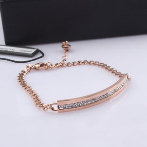 YUN RUO Brand Rose Gold Color Luxury Full AAA Zircon Crystal Bracelet Charms Fashion 316 L Stainless Steel Jewelry Woman Chain