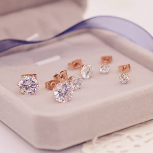YUNRUO Top Brand Rose Gold Color Classic Six Claw Zirconia CZ Stud Earring for Woman Girl 316 L Stainless Steel Fashion Jewelry