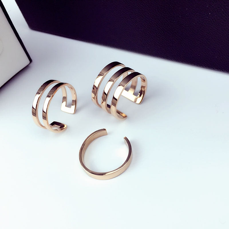 YUN RUO 2017 Rose Gold Silver Colors Classic 3 Rings Set for Woman Girl Jewelry 316 L Stainless Steel Prevent Allergy and Fade