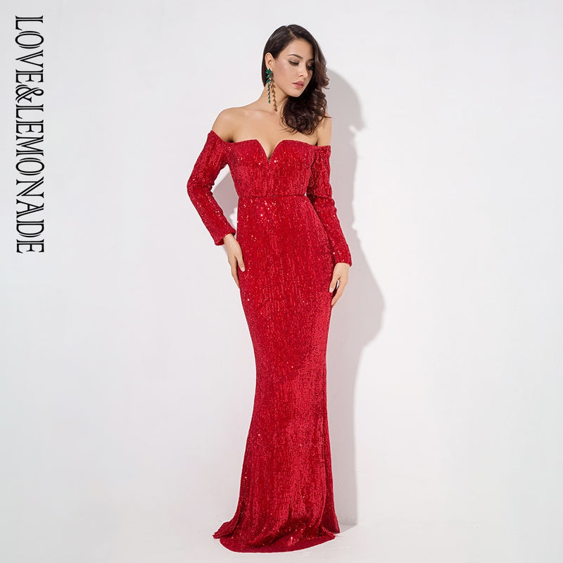 Love&Lemonade  Red Drop Shoulder Deep V Collar Long Sleeve Elastic Sequin Material Long Dress LM1203