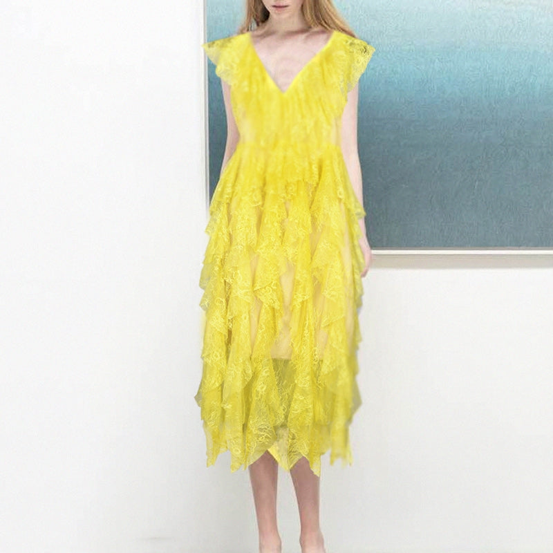 Sexy Summer Yellow Lace Dress Long Women Elegant Hollow Out V Neck Ruffles 2018 BOHO Runway Party Beach Dresses Midi Vestidos