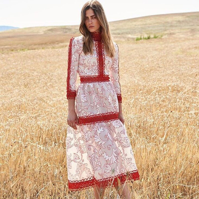 2018 Winter Elegant Red Print Long Dress Women Runway Designer Long Sleeve Lace Ladies Christmas Party Dress Clothing