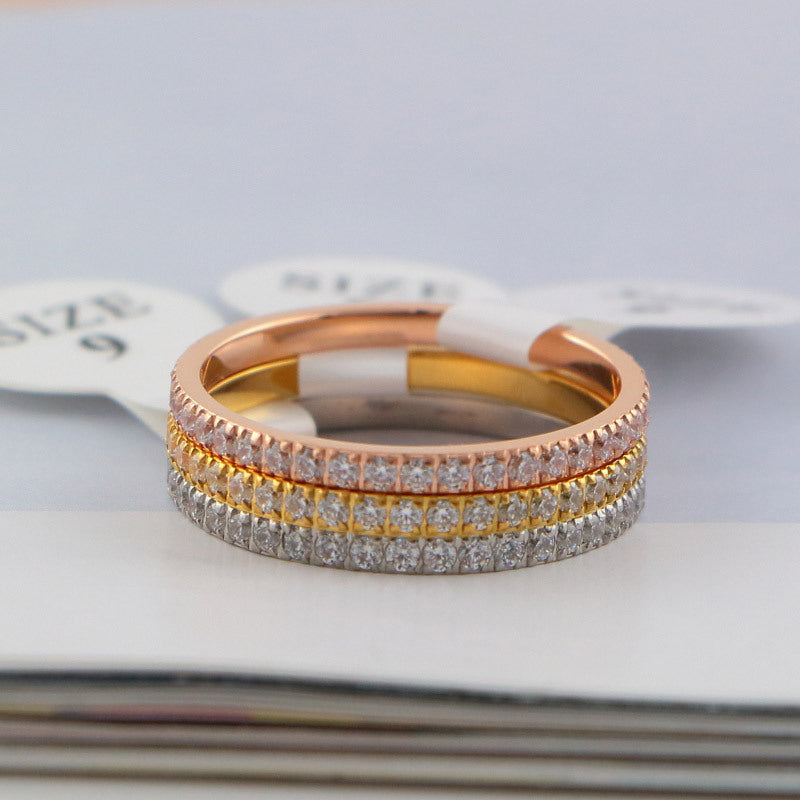YUN RUO 2017 Rose Gold Silver Colors Luxury Full Crystal CZ Rings for Woman Man Wedding Jewelry 316 L Stainless Steel Not Fade