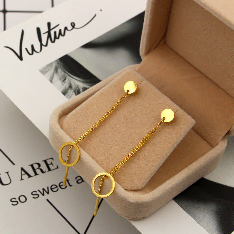 YUN RUO Brand Rose Gold Color Round Tassel Stud Earring Line Woman Girl Gift 316 L Stainless Steel Fashion Jewelry Never Fade