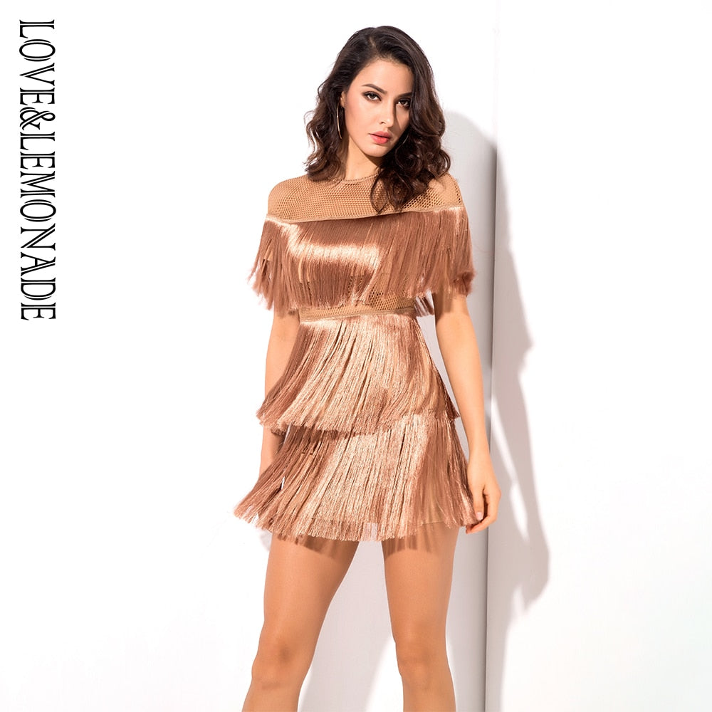 Love&Lemonade  Nude Round Neck Mesh Material Fringe Decoration Party Dress  LM1118
