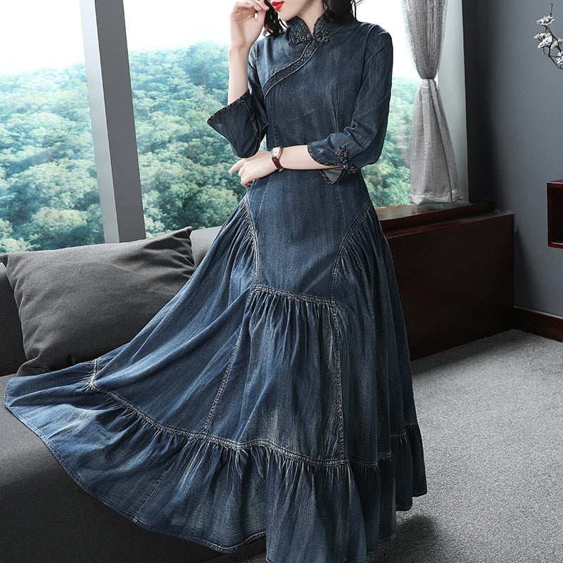 Vintage Long Denim Dress 2018 High quality Women Wrist Cotton Denim Long Dress Autumn cheongsam Saudi Dress Femal