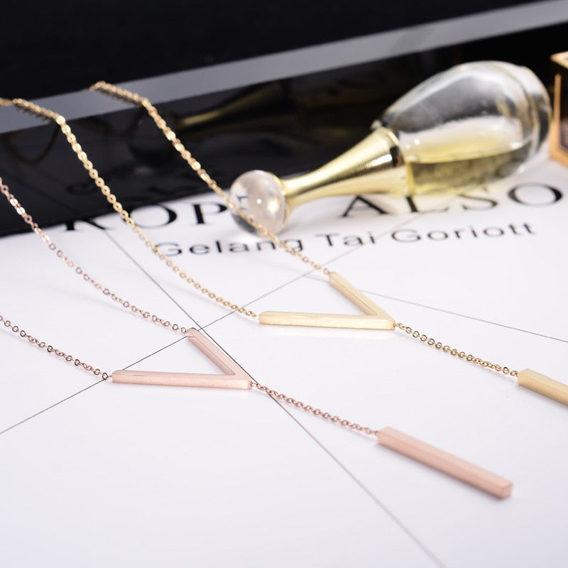 YUN RUO Yellow Rose Gold Silver Colors V Shape Choker Necklace for Woman Girl Fashion Gift 316 L Stainless Steel Brand Jewelry