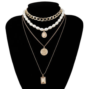 KMVEXO 2019 New Fashion Gold Color Multilayer Chains Pearl Necklaces Geometric Crystal Pendants Necklaces For Women Bijoux