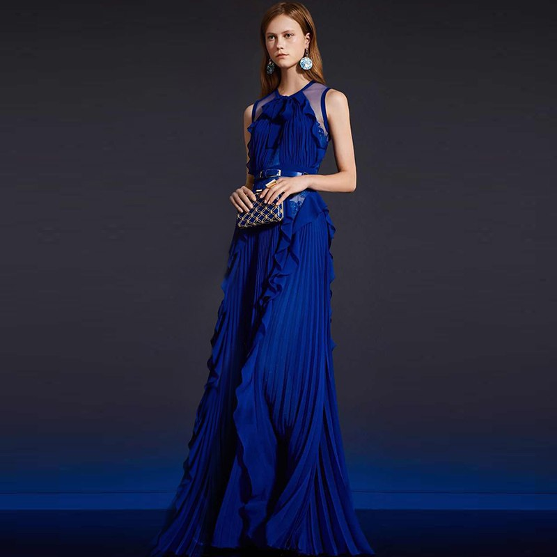 silk lace flouncing ruffles royal blue dresses for women o-neck bow tie sleeveless empire waist floor length long party dresses