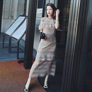 Ky&Q Sexy Women See Through Long Dresses 2018 Summer Ruffle Apricot Lace Maxi Dresses Elegant Tunics For Women Party Wedding