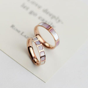 YUN RUO Rose Gold Color Lovely Natural Pink Shell Rings Set for Woman Girl Gift Wedding Jewelry 316 L Stainless Steel Never Fade