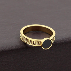 2018 New Simple Black Round Ring Rose Gold Color Fashion Titanium Steel Jewelry Wedding