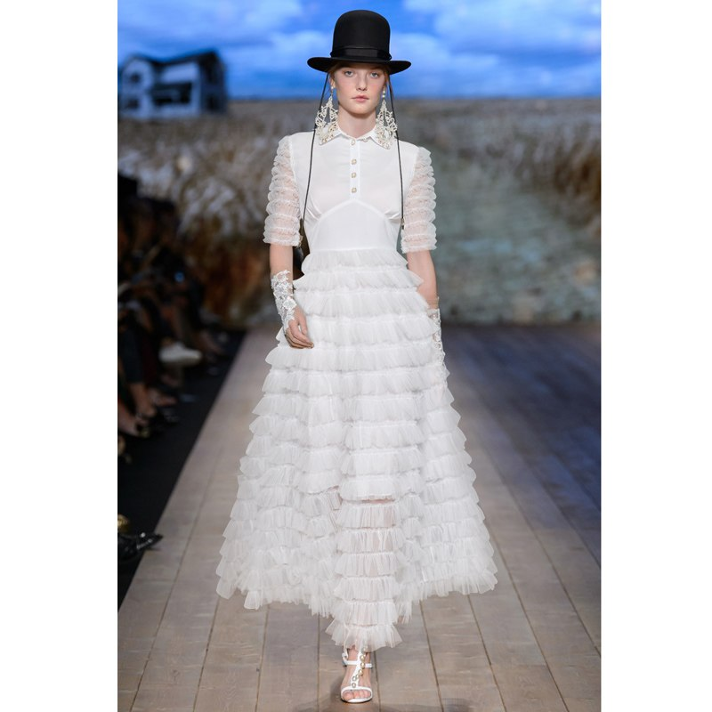 Summer Cowboy Splicing Pleated Tulle T shirt Dress Women Solid Color White Clothes New Fashion 2018 Button Up Maxi Gown Dress