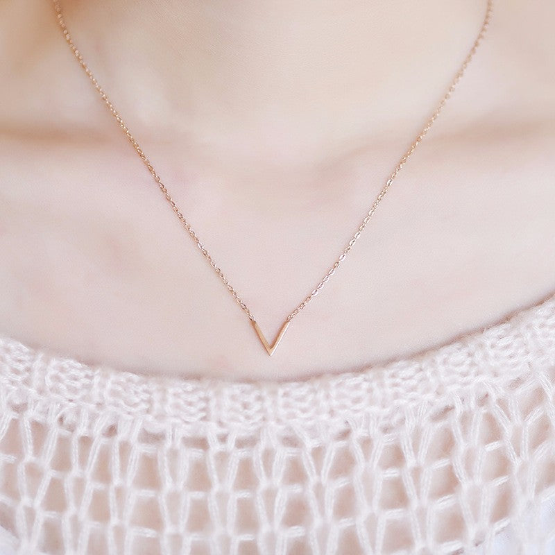 YUN RUO Yellow Rose Gold Silver Colors V Shape Pendant Necklace for Woman Girl Fashion Gift 316 L Stainless Steel Brand Jewelry