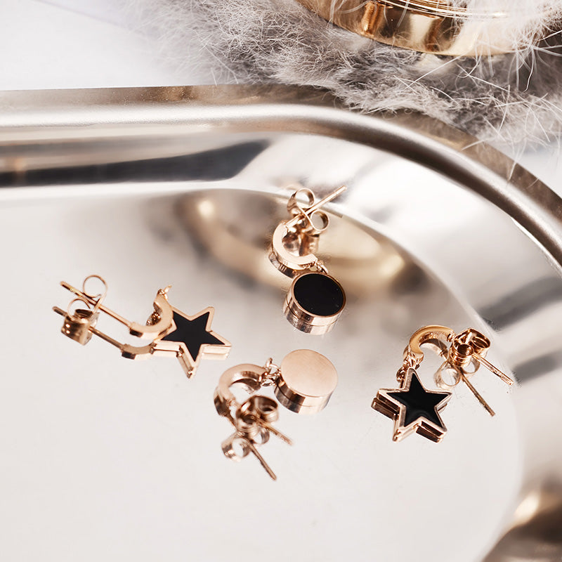 YUN RUO 2018 New Arrival Fashion Black Star Round Stud Earring Rose Gold Color Woman Girl Gift Titanium Steel Jewelry Not Fade