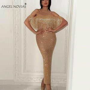 Long Glitter Gold Abendkleider Saudi Arabic High Neck Women Evening Dresses 2018 with Beading