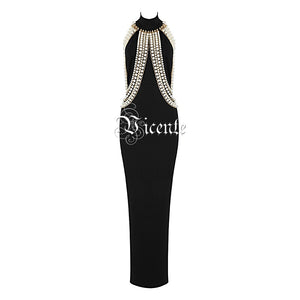2018 New Chic Top Design Luxe Pearl Chain Embellished Sexy Sleeveless Wholesale Celebrity  Maxi Long Dress