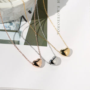 YUN RUO New Arrival Rose Gold Color Fashion Heart Tassel Crystal Pendant Necklace Titanium Steel Jewelry Woman Gift Never Fade