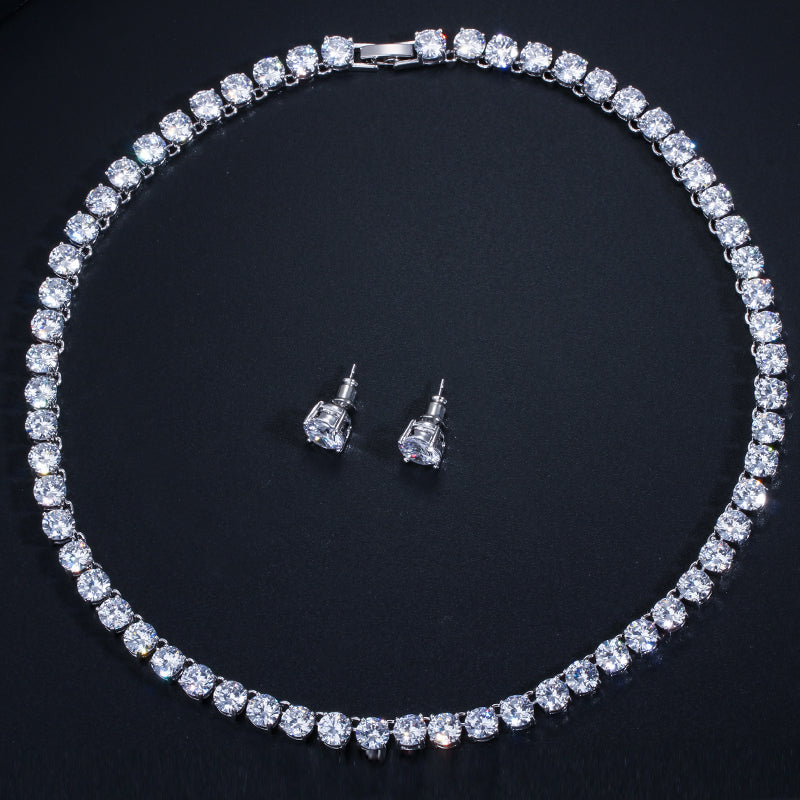 CWWZircons Stunning Big Carat Round CZ Crystal Necklace and Earrings Luxury Bridal Party Jewelry Set For Wedding Evening T061