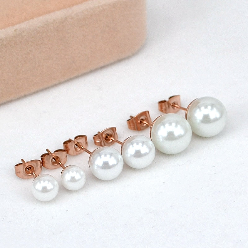 YUN RUO Fashion Stainless Steel Jewelry Rose Gold Color Classic Pearl Stud Earrings for Woman Girl Gift High Polish Never Fade