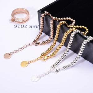YUN RUO Fashion Brand Rose Gold Silver Colors Gold Beads Bracelet 316L Stainless Steel Jewelry for Woman Man Couple Prevent Fade
