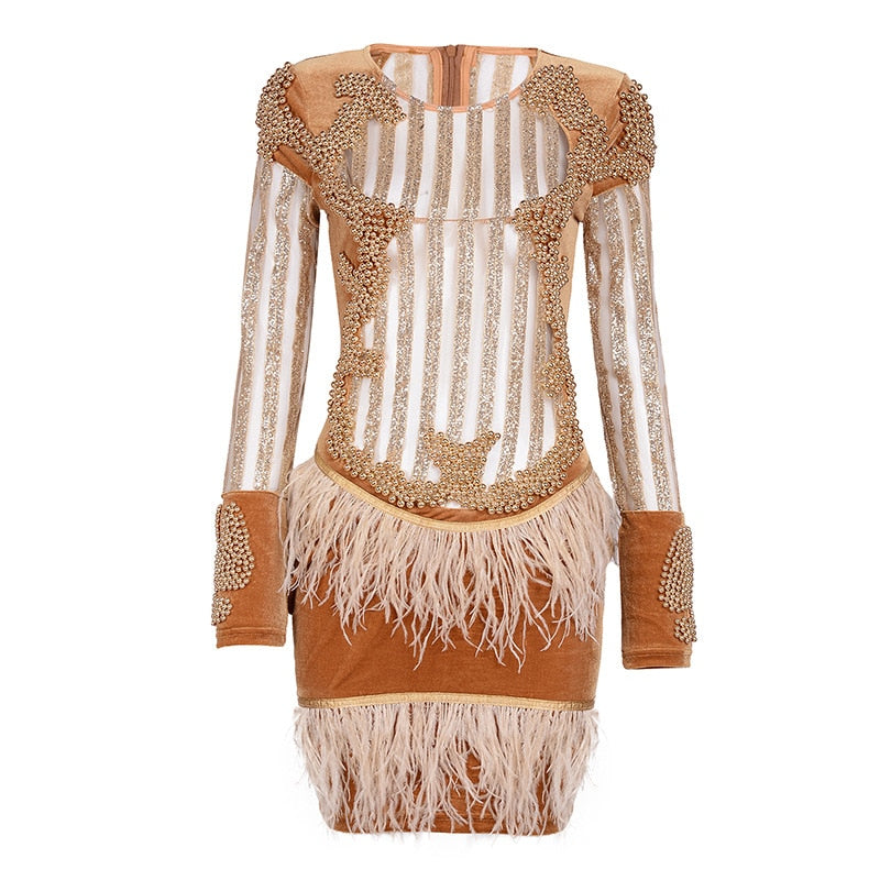 2017 Luxury Runway Party Beading Dress Women Sexy Long Sleeve Mesh Tassel feather Female Gold Black Chic mini Dress Vestidos