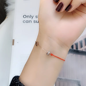 YUN RUO 2018 Lucky Redline Zircon Crystal Bracelet Fashion Elegant Woman Gift Rose Gold Color Titanium Steel Jewelry Never Fade