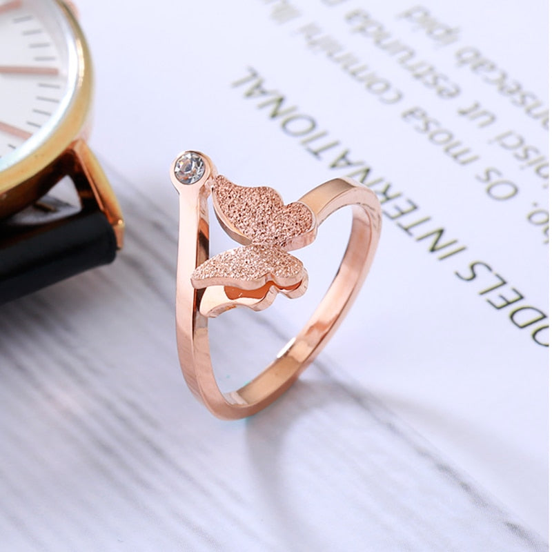 YUN RUO Top Brand Rose Gold Color Frosted Butterfly Ring for Woman Girl Wedding Jewelry Fashion 316L Stainless Steel Never Fade