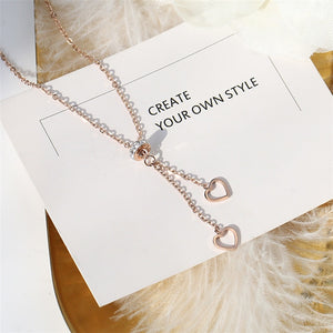 2018 New Rose Gold Color Fashion Two Heart Tassel Crystal Pendant Necklace gold plated
