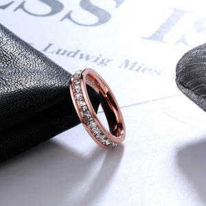 YUN RUO Rose Gold Color Luxury Full Zirconia Crystal Rings for Woman Man Wedding 316 L Stainless Steel Jewelry Prevent Allergy