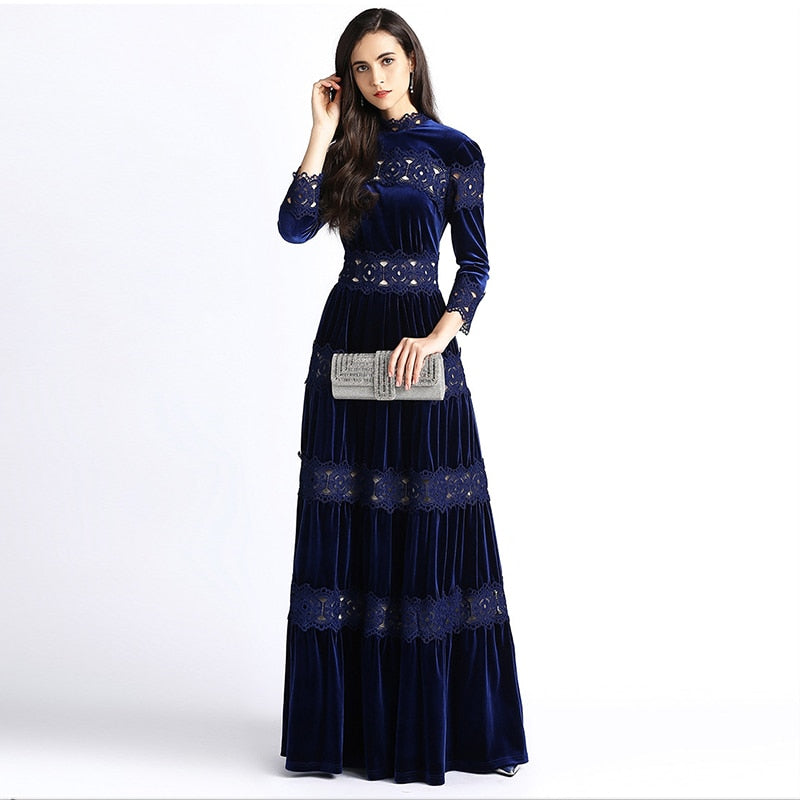 HIGH QUALITY Newest Fashion 2018 Winter Stylish Runway Dress Women's Vintage Water Soluble Lace Patchwork Velvet Maxi Long Dress