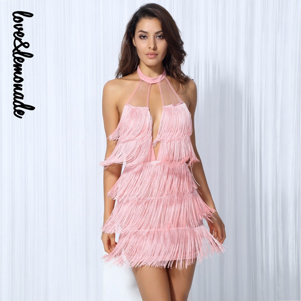 Love&Lemonade   Pink Cut Out Layered Tassel Back Party Dress  LM0153
