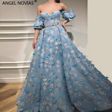 Long Ball Gown Lace Abendkleider Lebanon Saudi Arabic Blue Women Evening Dresses 2018 with Sleeves Avondjurken