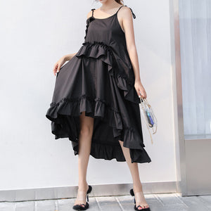 Irregular Ruffles Dress For Women Off Shoulder High Waist Oversize Long Dresses Summer