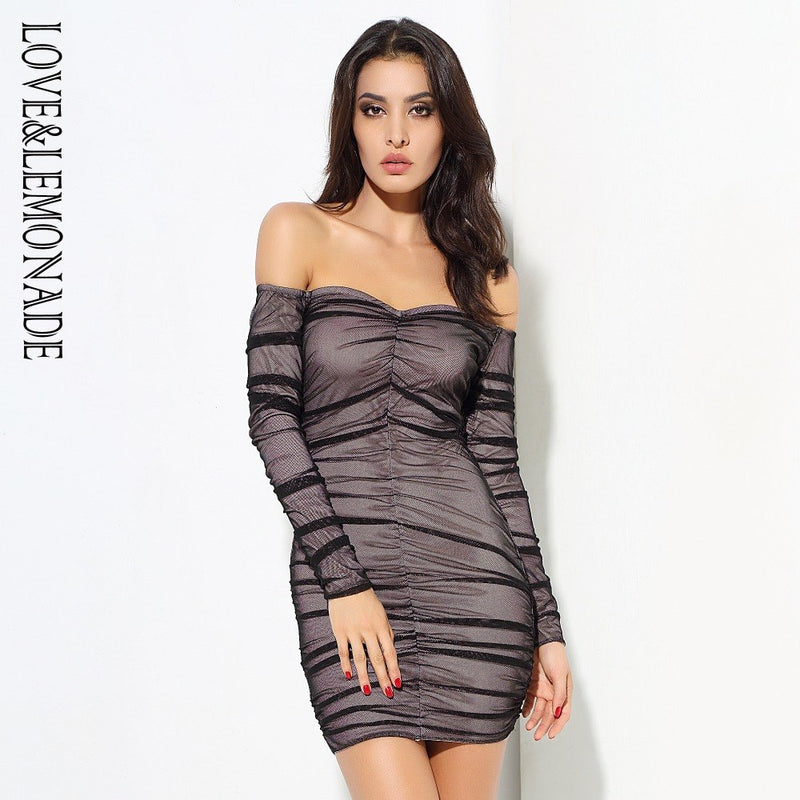 Love&Lemonade . Black V-Neck Pleated Mesh Bodycon Dress  LM0562