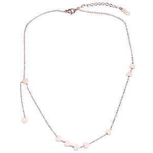 YUN RUO 2018 New Arrival Rose Gold Color Fashion Nine Heart Tassel Pendant Necklace Titanium Steel Jewelry Woman Gift Never Fade
